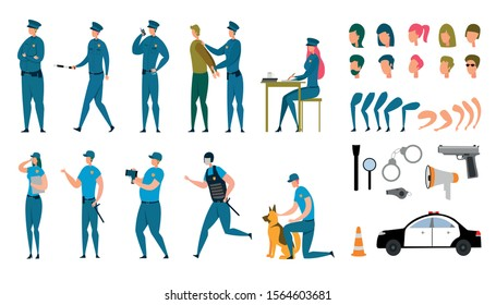 Stylized Policeman Animated Characters Flat Set