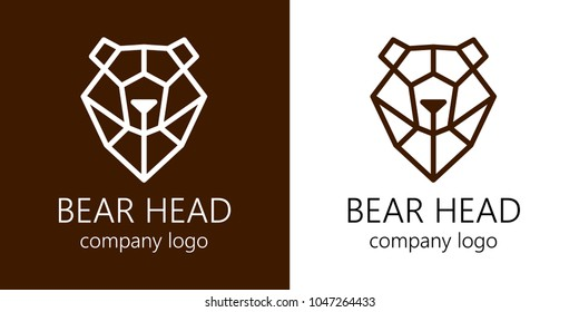 Stylized polygonal bear head.Vector geometric illustration. Set.