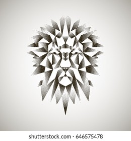 Stylized polygonal Lion head with Black Dots. Vector Dotwork geometric illustration. Graphic low poly sketch for tattoo, poster, clothes, t-shirt design, coloring book.