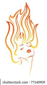 Stylized portrait of  a beautiful girl with flames in her hair