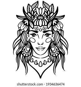 Stylized portrait of a beautiful girl with flowers in her hair drawn by lines. Vector illustration. Minimalistic portrait of a woman in ethnic style.