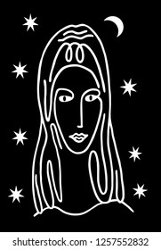 Stylized portrait of a beautiful woman. Black and white graphics. Stars and moon. Simple drawing, logo, sign, primitivism, fashion. Vector graphics.