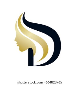 Stylized portrait of a beautiful woman and letter 'D'.Cosmetics and beauty typographic vector icon.