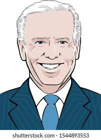 Stylized portrait illustration of Joe Biden, 47th Vice President of the United States, based on public domain image