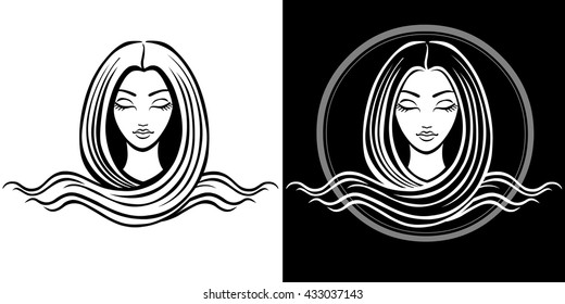 The stylized portrait of the young beautiful girl with long hair. The linear isolated drawing. Black and white options. Vector illustration.