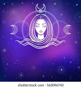 Stylized portrait of the young beautiful girl with long hair. Esoteric symbol of a feminine, goddess, mermaid. Background - the night star sky. Vector illustration. Place for the text.