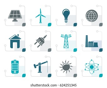 Stylized power, energy and electricity icons - vector icon set