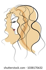 A stylized profile of a young girl