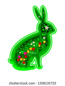Stylized rabbit silhouette. Leaves and flowers against the background of the silhouette of a rabbit hare. The concept of summer, spring, or Easter.