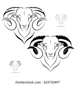 stylized ram head - front view. Black outlines - vector illustration