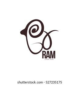 Stylized ram, sheep, lamb outline graphic logo template, vector illustration on white background. Back view black and white sheep, lamb, ram body outline for business, farm, wool products logo design