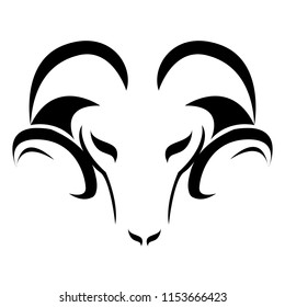 Stylized ram silhouette. Silhouette of white color of a muzzle of a ram. Sheep with horns, pet. Modern vector flat design image isolated on white background
