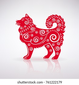 stylized red dog with ornament on a light background