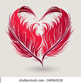 Stylized red heart made by feathers in vector.
