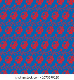 Stylized red rose on a blue background, seamless pattern