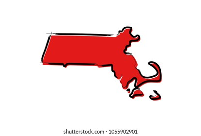 Stylized red sketch map of Massachusetts