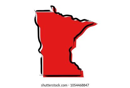 Stylized red sketch map of Minnesota