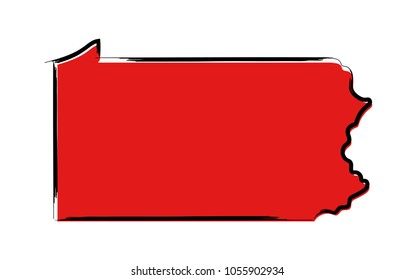 Stylized red sketch map of Pennsylvania