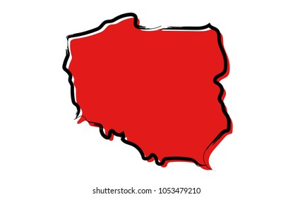 Stylized red sketch map of Poland