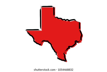 Stylized red sketch map of Texas