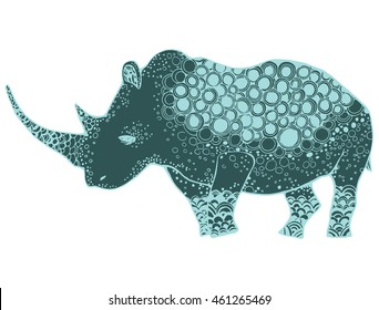 Line Drawings Of African Animals : Stylized rhinoceros african animals zoo ornamental stock vector