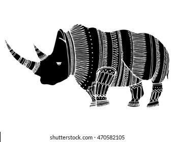 Line Drawings Of African Animals : Portrait rhino profile head rhinoceros africa stock vector 2018