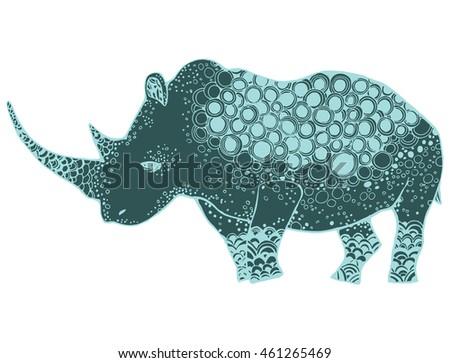 Line Art Animals Tattoo : Stylized rhinoceros african animals zoo ornamental stock vector