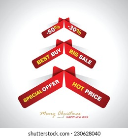 Stylized ribbon Christmas tree with sale text