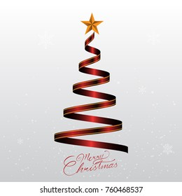 Stylized ribbon Christmas tree. Vector illustration. Eps 10.