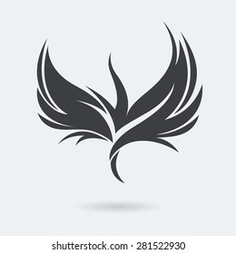 Stylized rising flying bird icon in grey color. Phoenix or Eagle image. Vector illustration. Works well as a tattoo, emblem, print or mascot.