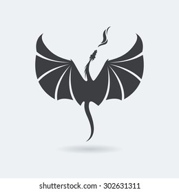 Stylized rising flying Dragon breathing fire. Image in grey color.  Vector illustration. Works well as a tattoo, icon, emblem, print or mascot.
