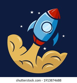 A stylized rocket takes off into space. Vector illustration.
