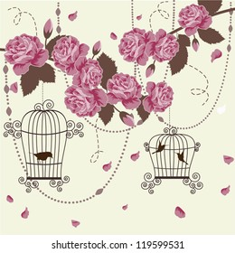 Stylized romantic floral background with birds and roses