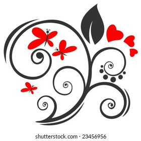 Stylized romantic pattern with hearts and butterflies. Valentines illustration.