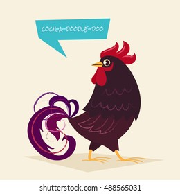 Stylized rooster on a light background. Vector illustration of rooster, symbol of 2017 on the Chinese calendar. Element for New Year's design. Cartoon character.