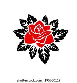 stylized rose. Greeting Card.