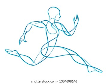 Stylized runner on a white background