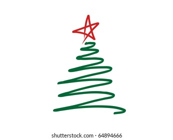 A stylized, scribbled green Christmas tree with a red star on top - VECTOR
