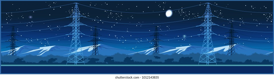 Stylized seamless horizontal panoramic vector illustration on the theme of high voltage power lines, industrial and energy sector at night