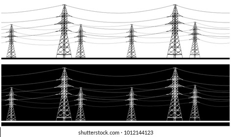Stylized seamless horizontal panoramic vector illustration on the theme of high voltage power lines, industrial and energy sector