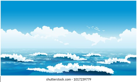 Stylized seamless horizontal vector illustration of an picturesque ocean  waves