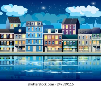 Stylized, seamless horizontal vector illustration on the theme of the old town at night, the promenade, coastal area and port of Old Town.