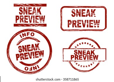 Stylized set of ink stamps showing the term sneak preview.