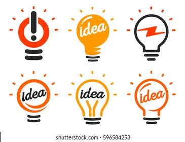 Stylized set of vector lightbulbs, collection colorful logotypes. New idea symbols, flat bright cartoon bulbs. White and orange colors sign. Idea icon, circle logo
