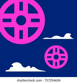 Stylized shanyrak vector symbol with clouds on a dark blue background.