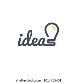 Stylized sign of vector lightbulb logotype. New idea symbol and icon, flat bright cartoon bulb.