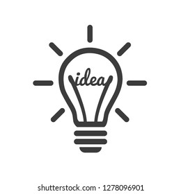Stylized sign of vector lightbulb logotype. New idea symbol and icon, flat bright bulb.