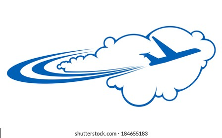 Stylized silhouette of an airplane logo flying through clouds on a curved trajectory depicting air travel