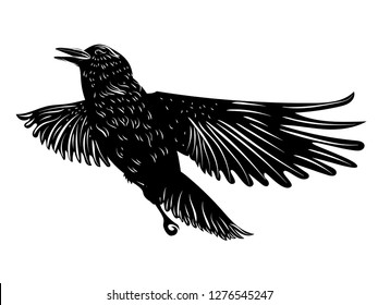 Stylized silhouette of a black raven, crow on white background.