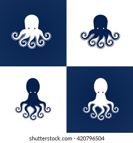 Stylized silhouette of blue octopus on white background. Logo design for company.